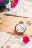 Vintage  letter  with  old clock Royalty Free Stock Image
