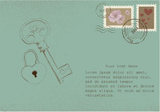Vintage letter on old paper with retro post stamps Stock Photography