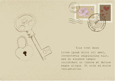Vintage letter on old paper with retro post stamps. For Valentine day Royalty Free Stock Images