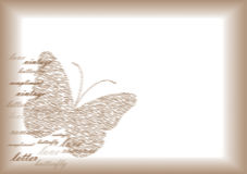 Vintage letter paper with butterfly Royalty Free Stock Image