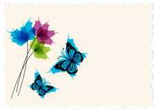 Vintage letter paper design with butterflies and flowers Stock Photography