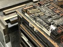 Vintage letter press stock photo