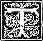 Vintage letter T in monochrome Stock Image