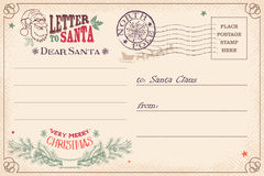 Vintage letter to Santa Claus postcard stock illustration
