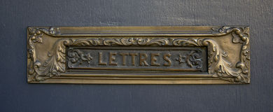Vintage letterbox with inscription lettres Stock Photography
