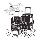 vintage lettering baggage for travel. Travel inspiration quotes stock illustration