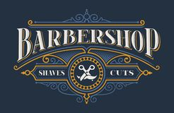 Vintage lettering for the barbershop stock illustration