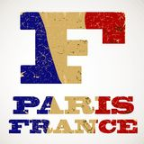 Vintage lettering F and France flag , Stock Photo