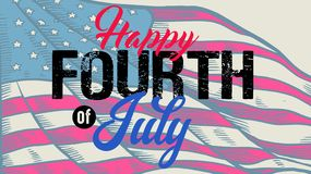 Vintage lettering greeting happy fourth of July royalty free stock photos