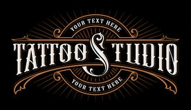 Vintage lettering of tattoo studio. Logo template on dark background. Text is on the separate group vector illustration