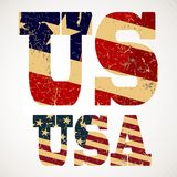 Vintage lettering US and USA flag Royalty Free Stock Photography