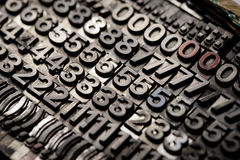 Vintage letterpress alphabet and number background Stock Photography