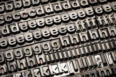 Vintage letterpress alphabet and number background Stock Image