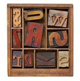 Vintage letterpress printing blocks Stock Photography