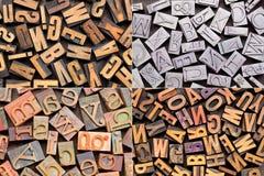 Vintage letterpress printing blocks Royalty Free Stock Images
