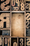 Vintage Letterpress type in Drawer. With copy space Royalty Free Stock Photography