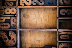 Vintage Letterpress type in Drawer. With copy space Royalty Free Stock Images