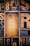 Vintage Letterpress type in Drawer. With copy space Stock Photo