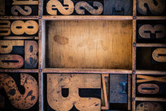 Vintage Letterpress type in Drawer. With copy space Stock Photos