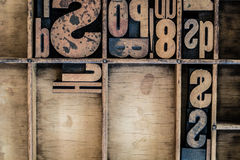 Vintage Letterpress type in Drawer. With copy space Royalty Free Stock Photo