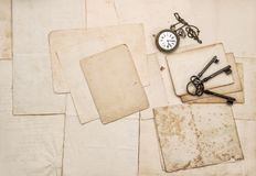 Vintage letters keys pocket watch paper background. Vintage letters, keys, pocket watch. Nostalgic paper background Stock Photos