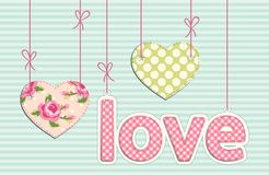 Vintage letters LOVE with hearts in shabby chic style with strings. For your decoration vector illustration
