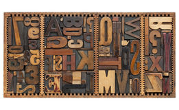 Vintage letters, numbers and punctuation signs. Vintage letterpress printing blocks abstract with variety of  letters, numbers, punctuation signs in old box Stock Image
