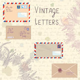 Vintage letters and paper set with floral elements Royalty Free Stock Photos