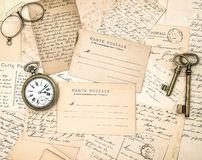 Vintage letters and postcards. Nostalgic used papers. Background stock image