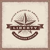 Vintage Liberty American Dream Label stock de ilustración