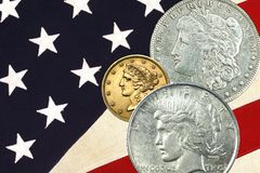 Vintage Liberty faces, stars & stripes background Royalty Free Stock Images