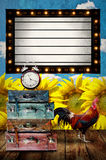Vintage Light box program board with retro bag and chicken Royalty Free Stock Image