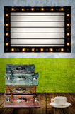 Vintage Light box program board with travel bag and coffee Royalty Free Stock Image