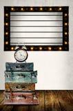 Vintage Light box program board with vintage travel bag Stock Image