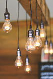 Vintage light bulbs hanging on ceiling Stock Image