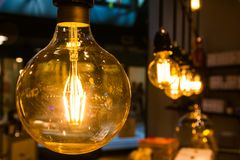 Vintage Light Bulbs Orange Tungsten Wire Interior Decoration Ins royalty free stock photos