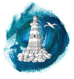 Vintage light house and gull on blue background Stock Photos
