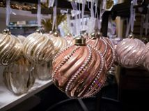 Vintage light pink handmade Christmas tree decoration, balls fro. Vintage handmade Christmas tree decoration, light pink balls from heavy glass with ornament stock photo