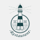 Vintage lighthouse logo rounded by rope or sling Royalty Free Stock Images