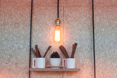 Vintage lighting decorated on brown background Stock Photo