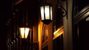 Vintage lights on the buildings stock footage