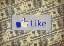 Vintage like facebook with dollars Stock Images