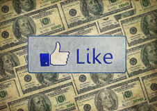 Vintage like facebook mixed dollars. Can be use for advertising background Stock Images