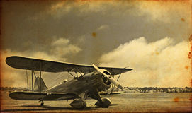 Vintage like picture of a double deck aircraft. A picture of a modern double deck airplane made vintage looking Royalty Free Stock Photo
