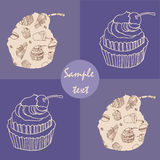 Vintage lilac card with cupcakes Royalty Free Stock Photo