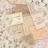 Vintage Americana Ephemera - Lilac Shabby Pattern - Watercolor Accent Scrapbook Paper Design. Vintage lilac floral pattern combined with Americana ephemera from Royalty Free Stock Image