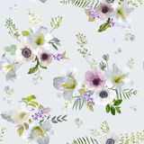 Vintage Lily and Anemone Flowers Background - Summer Seamless Pattern Royalty Free Stock Image