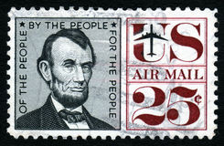 Vintage Lincoln USA 25c Stamp royalty free stock images