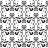 Vintage line art tracery black and white seamless pattern. Abstr. Act floral isolated background. Hand drawn swirl lines, flowers, leaves, shapes. Monochrome Royalty Free Stock Photo