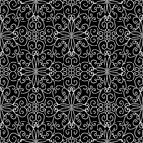 Vintage line art tracery vector seamless pattern. Ornamental abs. Tract black and white monochrome background. Hand drawn doodle swirls ornament, curve lines Royalty Free Stock Photos